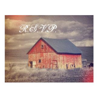 Rustic country farm red barn wedding RSVP Postcard