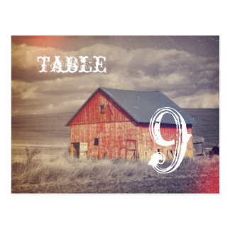 Rustic country farm red barn wedding table numbers postcard