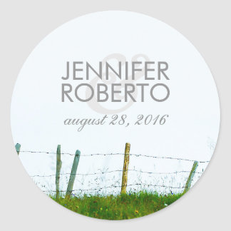 Rustic Country Fence Rural Farm Wedding Classic Round Sticker