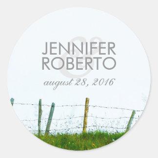Rustic Country Fence Rural Farm Wedding Round Sticker