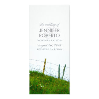 Rustic Country Fiels Fence Post Wedding Program Rack Card Template