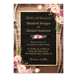 Rustic Country Floral Barn Wood Fall Wedding 13 Cm X 18 Cm Invitation Card
