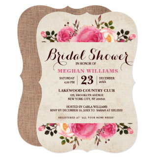 Rustic Country Floral Bridal Shower Invitation