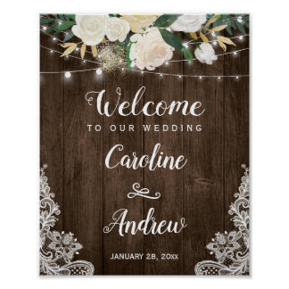 Rustic Country Floral Lace Wedding Welcome Sign