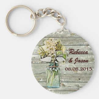 rustic country floral mason jar wedding thank you basic round button key ring