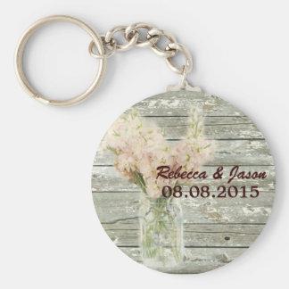 rustic country floral mason jar wedding thank you key chain