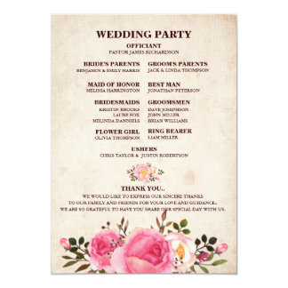 Rustic Country Floral Wedding Program Fan back