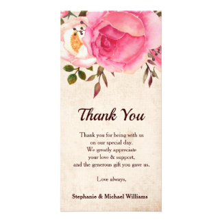 Rustic Country Floral Wedding Thank you card