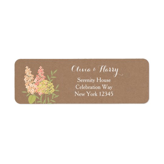 Rustic Country Flowers - Faux Kraft Wedding Label