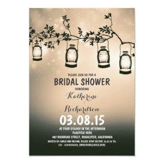 """rustic country garden lights bridal shower 5"""" x 7"""" invitation card"""