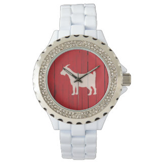 Rustic Country Goat Red Wood Panel Watch