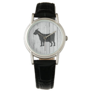 Rustic Country Goat Wood Panel Watch