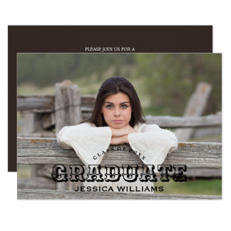 Rustic Country Graduation Photo Card