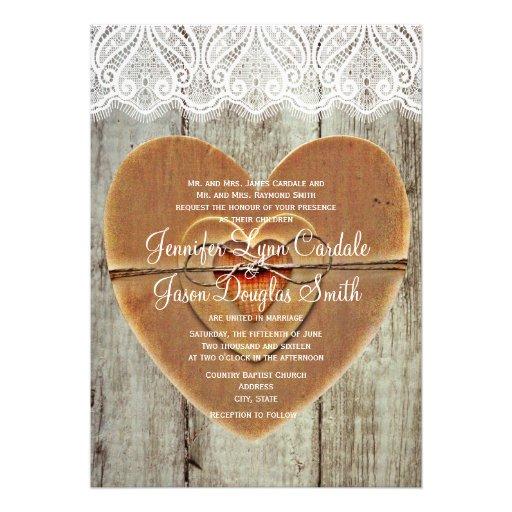 Rustic Country Hearts Barn Wood Wedding Invitation