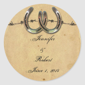 Rustic Country Horseshoes Barbed Envelope Seal Round Sticker