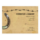 Rustic Country Horseshoes Barbed Wedding RSVP