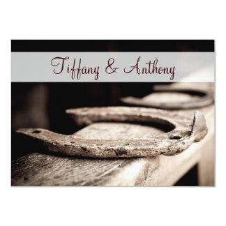 Rustic Country Horseshoes Cowboy Wedding Invites