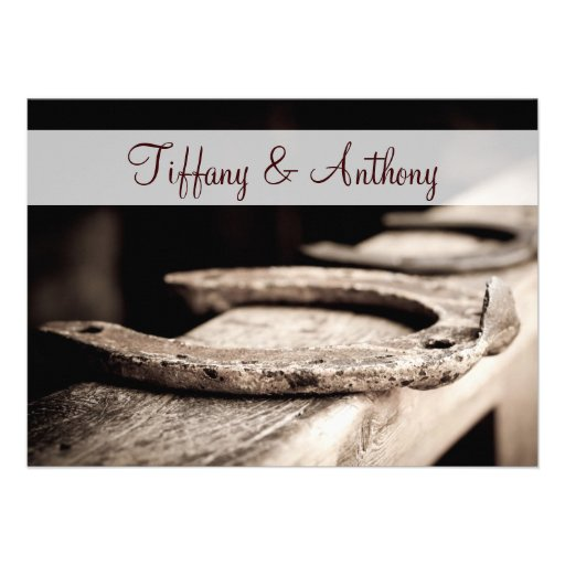 Rustic Country Horseshoes Cowboy Wedding Invites Custom Announcement