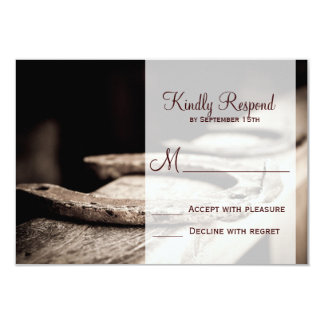 Rustic Country Horseshoes Cowboy Wedding RSVP Card