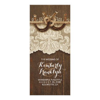 Rustic Country Horseshoes LaceWood Wedding Program Rack Card