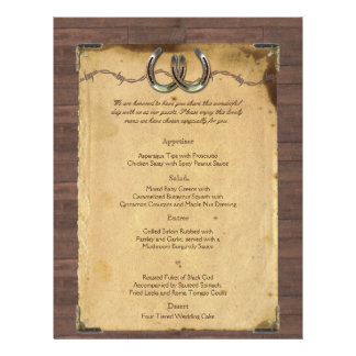 Rustic Country Horseshoes Wedding Menu