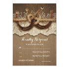 Rustic Country Horseshoes Wood Lace Wedding RSVP Card