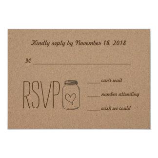 Rustic Country Kraft Paper Mason Jar RSVP 9 Cm X 13 Cm Invitation Card