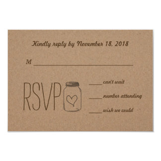 Rustic Country Kraft Paper Mason Jar RSVP Card