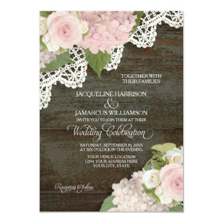 Rustic Country Lace Dark Wood n Pink Hydrangeas Card