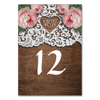 Rustic Country Lace Heart Floral Table Number Table Cards