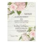 Rustic Country Lace Wood n Pink Hydrangeas Wedding Card