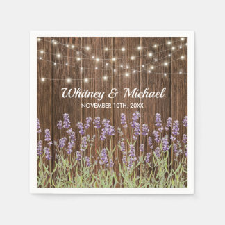 Rustic Country Lavender Floral Lights Wedding Disposable Napkins
