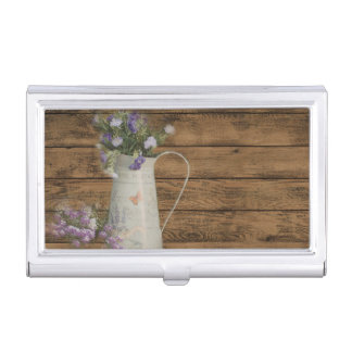 rustic country lavender primitive barn wood business card holder