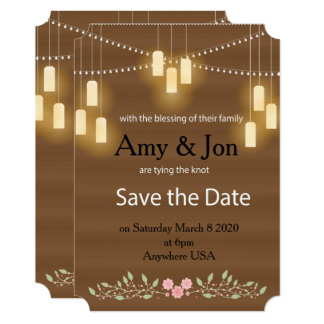 Rustic Country Lights Save the Date Card