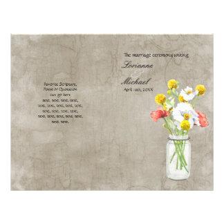 Rustic Country Mason Jar Bouquet Wedding Program 21.5 Cm X 28 Cm Flyer