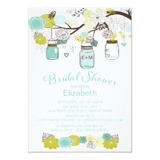 Rustic Country Mason Jar Bridal Shower 13 Cm X 18 Cm Invitation Card