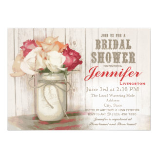 Rustic Country Mason Jar Bridal Shower Invitations
