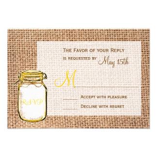 Rustic Country Mason Jar Burlap Wedding RSVP Cards