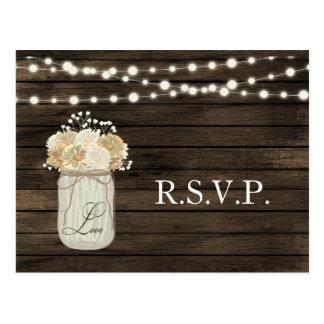 Rustic Country Mason Jar Daisy Barn Wood Wedding Postcard