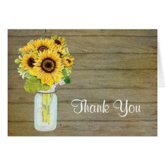 Rustic Country Mason Jar Flowers Sunflower Bouquet Card