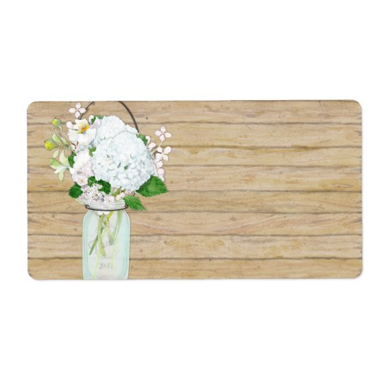 Rustic Country Mason Jar Flowers White Hydrangeas Shipping Label
