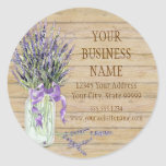 Rustic Country Mason Jar French Lavender Bouquet Stickers