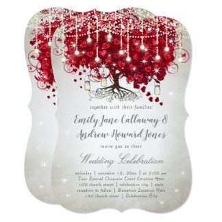 Rustic Country Mason Jar Red & Silver Tree Wedding Card