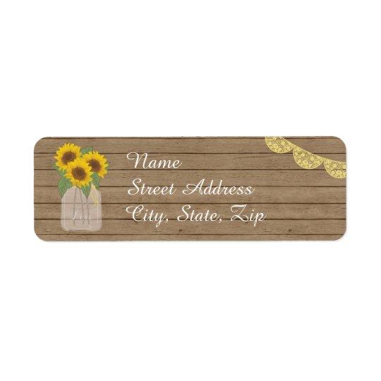 Rustic Country Mason Jar Sunflower Label