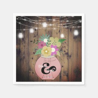 Rustic Country Mason Jar Wedding Floral Paper Napkin