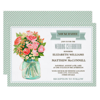 Rustic Country Mason Jar Wedding Invitations