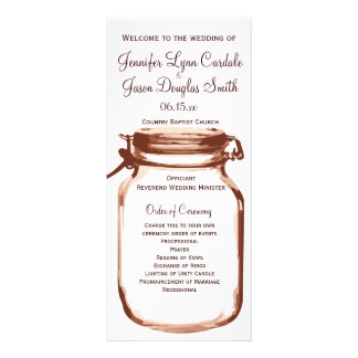 Rustic Country Mason Jar Wedding Programs Rack Card