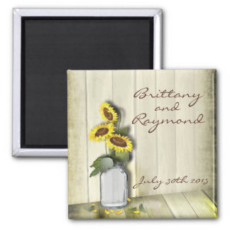 RUSTIC COUNTRY MASON JAR WITH SUNFLOWERS MAGNET