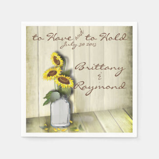 RUSTIC COUNTRY MASON JAR WITH SUNFLOWERS PAPER SERVIETTES