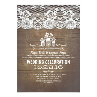 Rustic country mason jars wood lace wedding invite